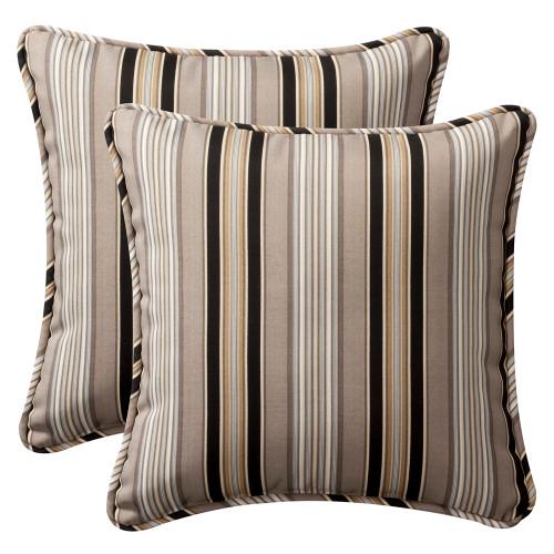 Pillow Perfect Getaway Stripe Black 18.5-Inch Throw Pillow (Set of 2)