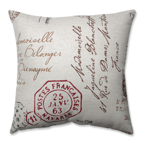 Pillow Perfect French Postale 16.5-Inch Throw Pillow
