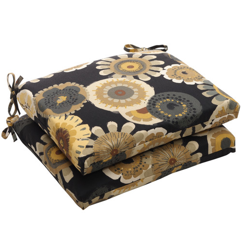 Pillow Perfect Crosby Black Squared Corners Seat Cushion (Set of 2)