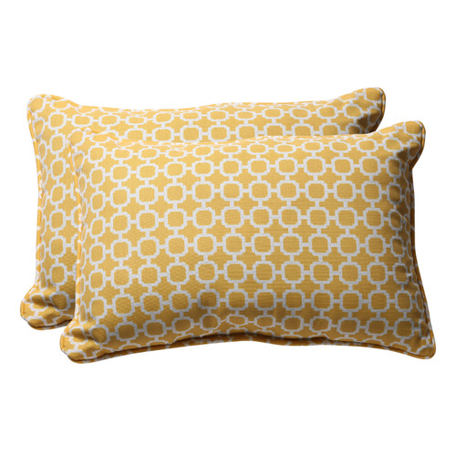 Pillow Perfect Hockley Yellow Oversized Rectangle Throw Pillow (Set of 2)