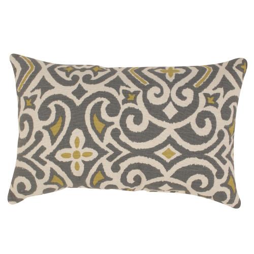 Pillow Perfect New Damask Greystone Rectangle Throw Pillow