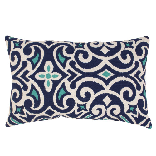Pillow Perfect New Damask Marine Rectangle Throw Pillow