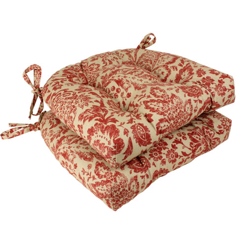 Pillow Perfect Fairhaven Red Reversible Chair Pad (Set of 2)
