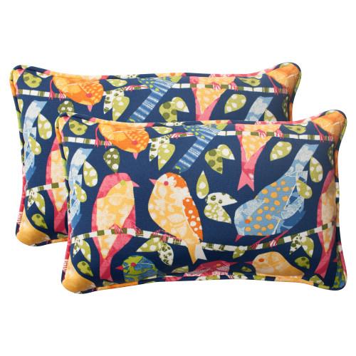 Pillow Perfect Ash Hill Navy Rectangle Throw Pillow (Set of 2)