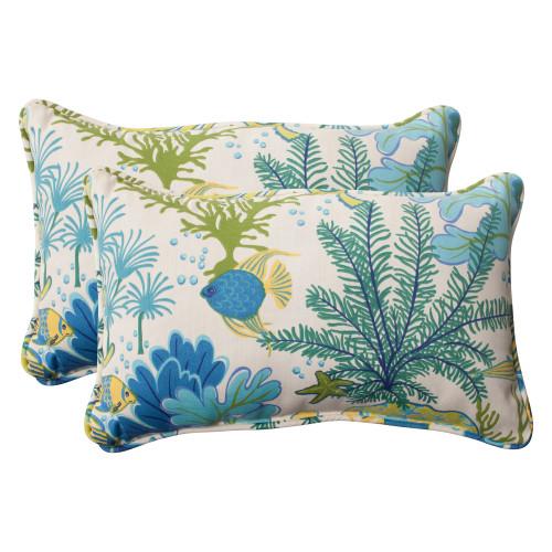 Pillow Perfect Splish Splash Blue Rectangle Throw Pillow (Set of 2)