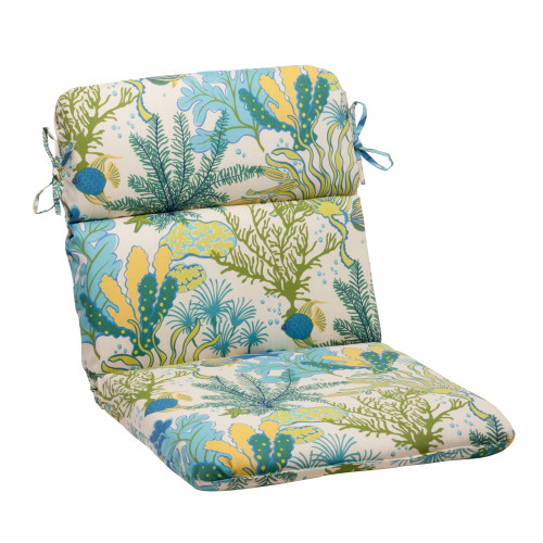 Pillow Perfect Splish Splash Blue Rounded Corners Chair Cushion