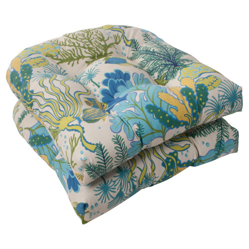 Pillow Perfect Splish Splash Blue Wicker Seat Cushion (Set of 2)