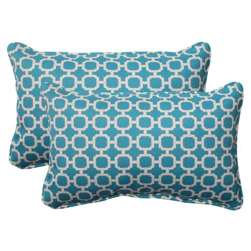 Pillow Perfect Hockley Teal Rectangle Throw Pillow (Set of 2)