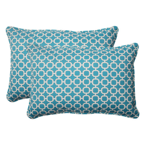 Pillow Perfect Hockley Teal Oversized Rectangle Throw Pillow (Set of 2)