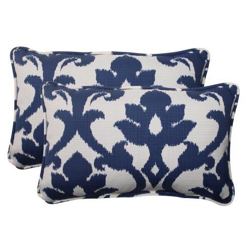Pillow Perfect Bosco Navy Rectangle Throw Pillow (Set of 2)