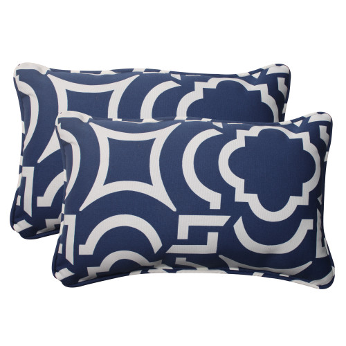 Pillow Perfect Carmody Navy Rectangle Throw Pillow (Set of 2)