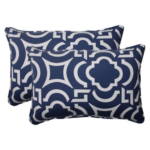 Pillow Perfect Carmody Navy Oversized Rectangle Throw Pillow (Set of 2)