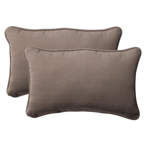 Pillow Perfect Forsyth Taupe Rectangle Throw Pillow (Set of 2)