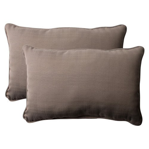 Pillow Perfect Forsyth Taupe Oversized Rectangle Throw Pillow (Set of 2)