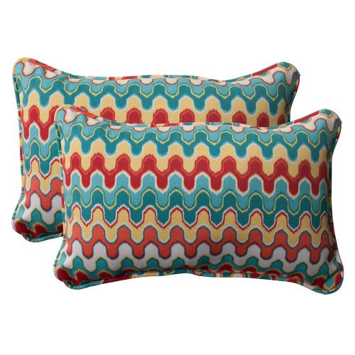 Pillow Perfect Nivala Blue Rectangle Throw Pillow (Set of 2)