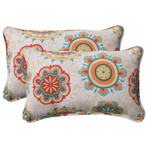 Pillow Perfect Farrington Aqua Rectangle Throw Pillow (Set of 2)