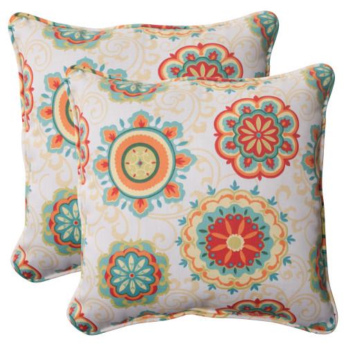 Pillow Perfect Farrington Aqua 18.5-Inch Throw Pillow (Set of 2)