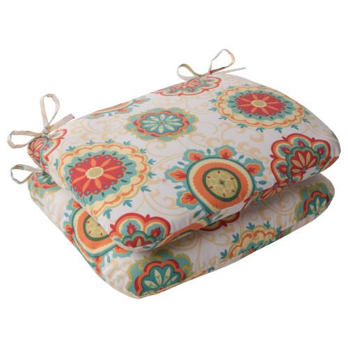 Pillow Perfect Farrington Aqua Rounded Corners Seat Cushion (Set of 2)