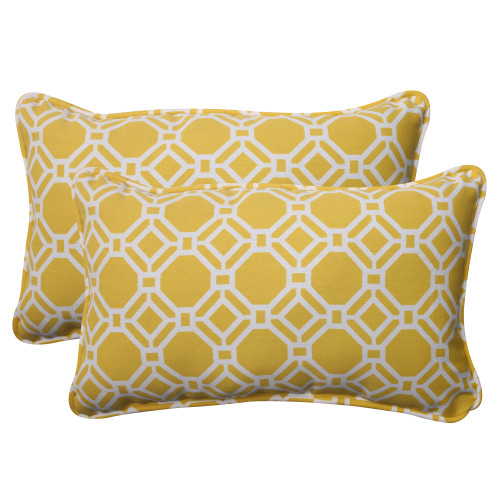 Pillow Perfect Rossmere Yellow Rectangle Throw Pillow (Set of 2)