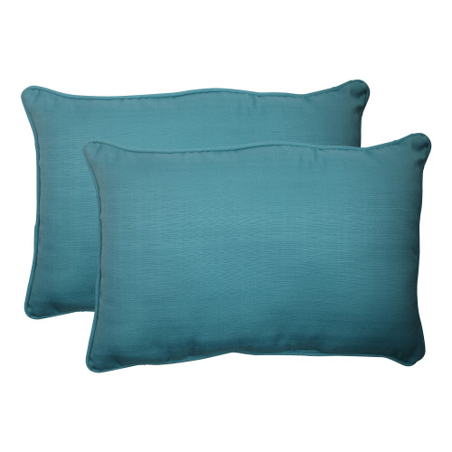Pillow Perfect Forsyth Turquoise Oversized Rectangle Throw Pillow (Set of 2)