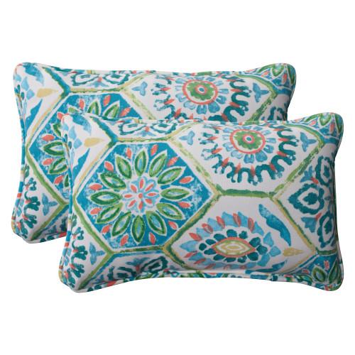 Pillow Perfect Summer Breeze Blue Rectangle Throw Pillow (Set of 2)