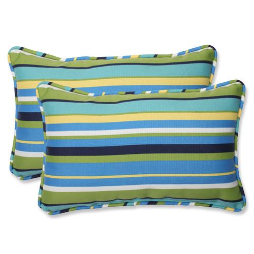 Pillow Perfect Topanga Stripe Lagoon Rectangular Throw Pillow (Set of 2)