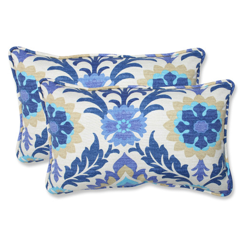 Pillow Perfect Santa Maria Azure Rectangular Throw Pillow (Set of 2)
