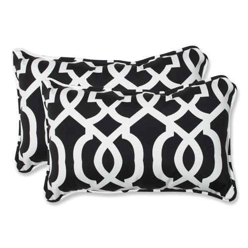 Pillow Perfect New Geo Black/White Rectangular Throw Pillow (Set of 2)