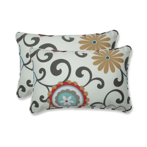 Pillow Perfect Pom Pom Play Peachtini Rectangular Throw Pillow (Set of 2)