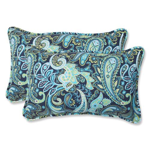 Pillow Perfect Pretty Paisley Navy Rectangular Throw Pillow (Set of 2)