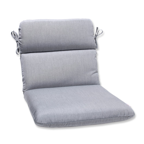 Pillow Perfect Rounded Corners Chair Cushion with Grey Sunbrella Fabric