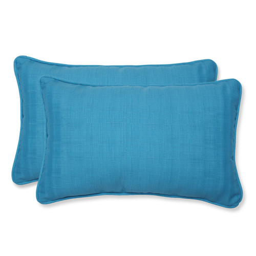 Pillow Perfect Veranda Turquoise Rectangular Throw Pillow (Set of 2)