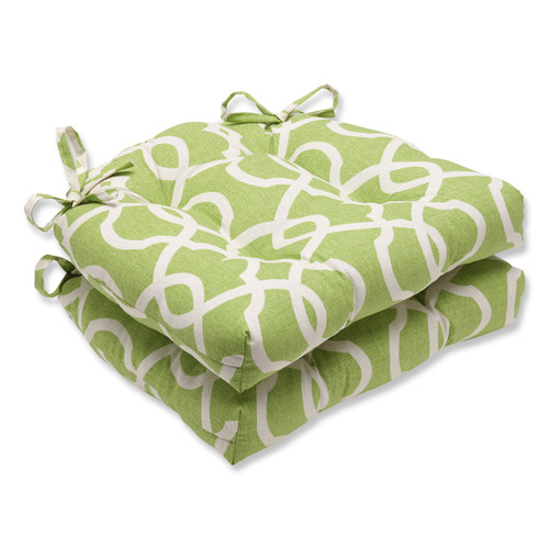Pillow Perfect Lattice Damask Leaf Reversible Chair Pad (Set of 2)
