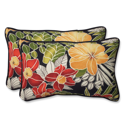 Pillow Perfect Clemens Noir Rectangular Throw Pillow (Set of 2)