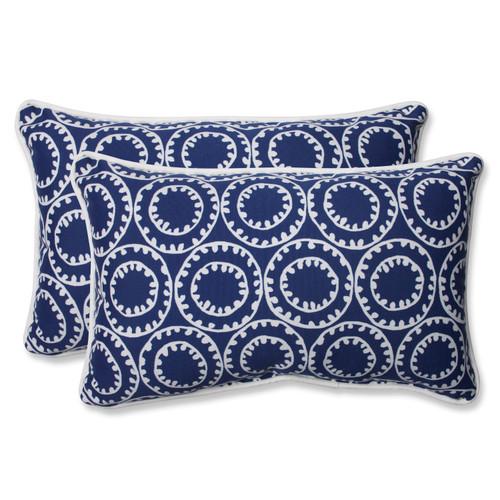 Pillow Perfect Ring a Bell Navy Rectangular Throw Pillow (Set of 2)