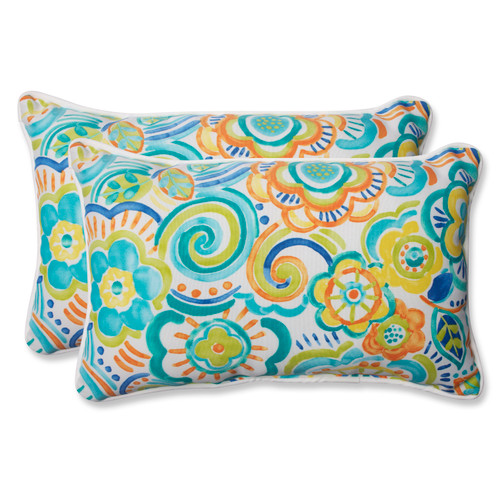 Pillow Perfect Bronwood Caribbean Rectangular Throw Pillow (Set of 2)