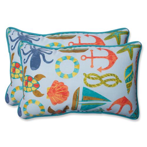 Pillow Perfect Seapoint Blue Summer Rectangular Throw Pillow (Set of 2)
