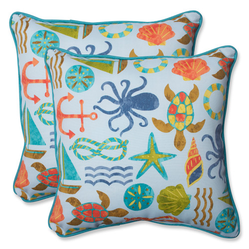 Pillow Perfect Seapoint Blue Summer 18.5-inch Throw Pillow (Set of 2)