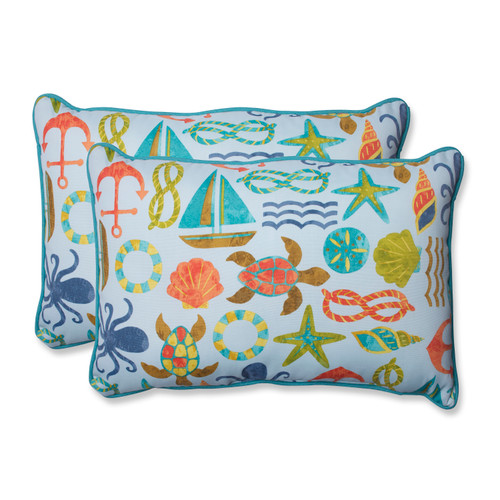 Pillow Perfect Seapoint Blue Summer Over-sized Rectangular Throw Pillow (Set of 2)