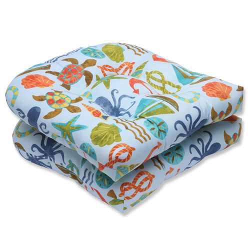 Pillow Perfect Seapoint Blue Summer Wicker Seat Cushion (Set of 2)