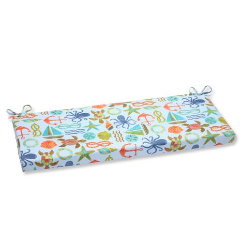 Pillow Perfect Seapoint Blue Summer Bench Cushion