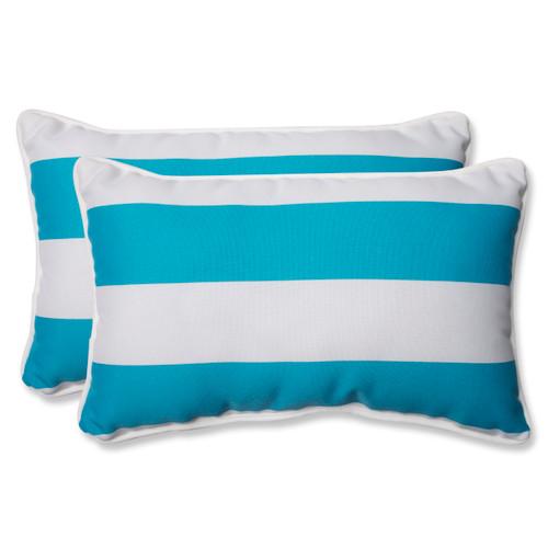 Pillow Perfect Cabana Stripe Turquoise Rectangular Throw Pillow (Set of 2)