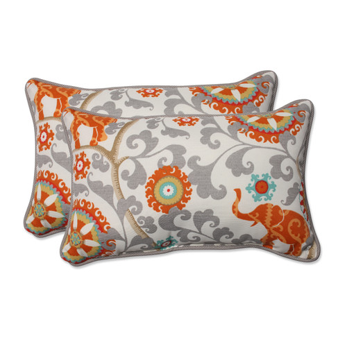 Pillow Perfect Menagerie Cayenne Rectangular Throw Pillow (Set of 2)