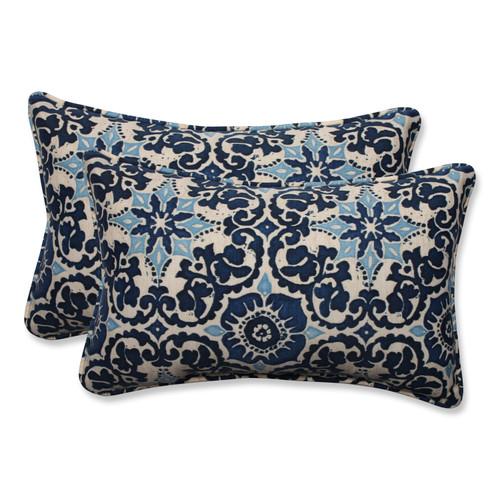 Pillow Perfect Woodblock Prism Blue Rectangular Throw Pillow (Set of 2)