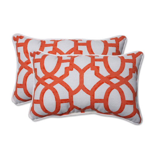 Pillow Perfect Nunu Geo Mango Rectangular Throw Pillow (Set of 2)