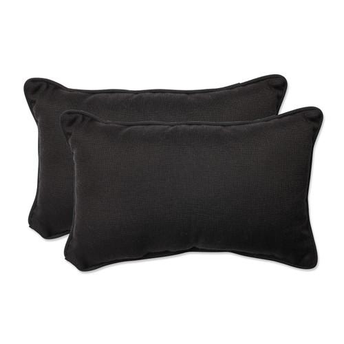 Pillow Perfect Tweed Black Rectangular Throw Pillow (Set of 2)