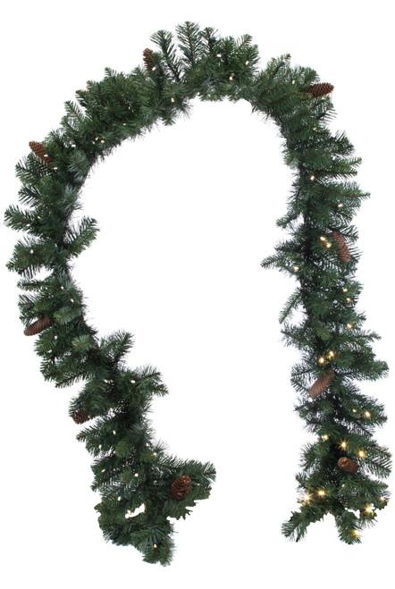 "Mixed Pine Artficial Pine Garland with Cones 9' x 12"" Prelit"