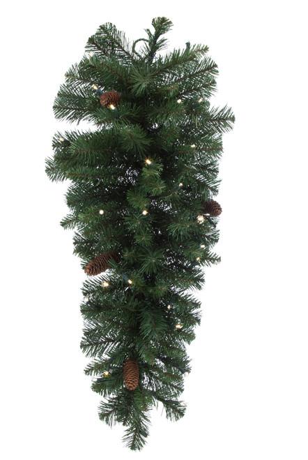 """Mixed Pine Artificial Teardrop with Cones Prelit 36"""""""
