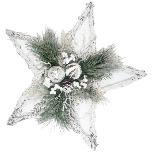 "22"" Frosted Star Decor with Pine, Berries, Ornaments White Silver"