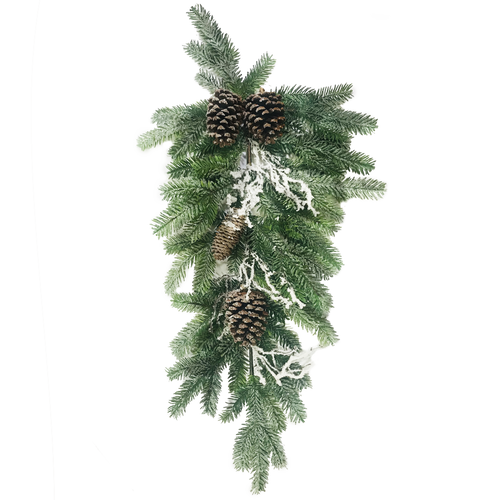 """Frosted Artificial Mixed Pine Cone Teardrop Pair 30"""""""